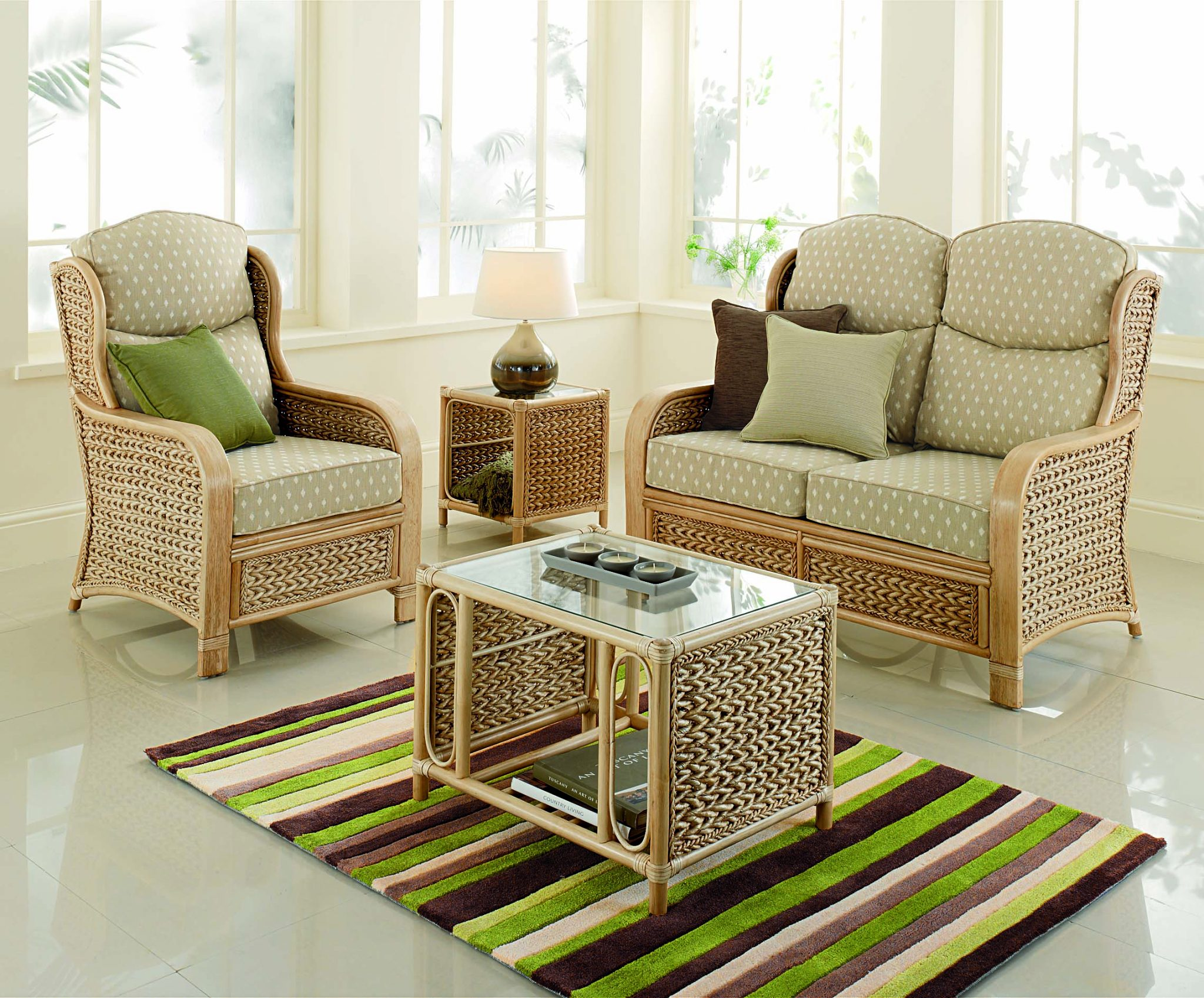 Reef Wicker Cane Rattan Conservatory Furniture Swivel